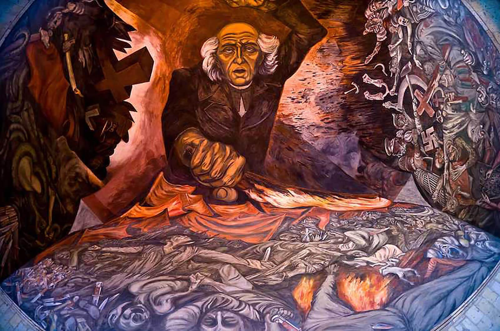 """Mural """"Hidalgo Incendiario"""" por José Clemente Orozco"""